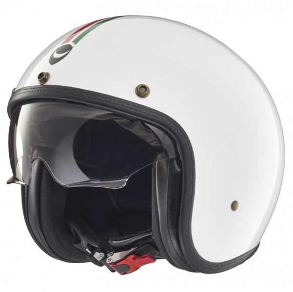 Helmo Milano casque jet, Audace, Italy Flag, blanc