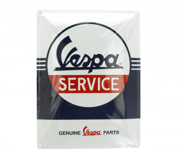 Vespa plaque métallique Vespa Service, 30x40 mm