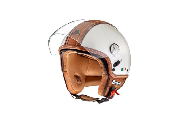 Helmo Milano Demi Jet, PelleDura Premium, blanc, brun