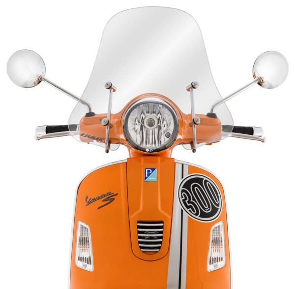 Pare-brise Sportivo pour Vespa GTS/GTS Super/GT/GT L 125-300ccm, demi-haut, clair