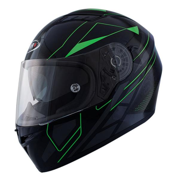 Shiro Casque Integral, SH600, Elite, noir mat/vert