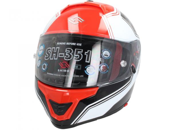Shiro Casque Integral, SH351, Fiber, F4, rouge