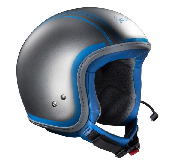 Original Casque Jet Vespa Elettrica Tech chromé/ bleu communication Bluetooth