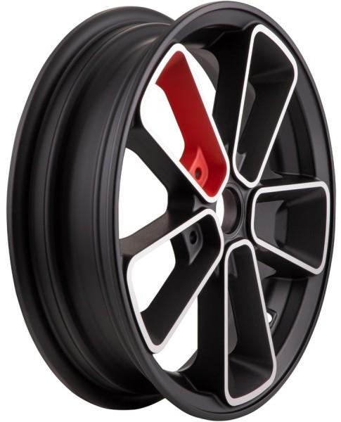 """Jante avant/arrière 12"""" pour Vespa GTS/GTS Super/GTV/GT 60/GT/GT L 125-300ccm, noir mat/rouge"""