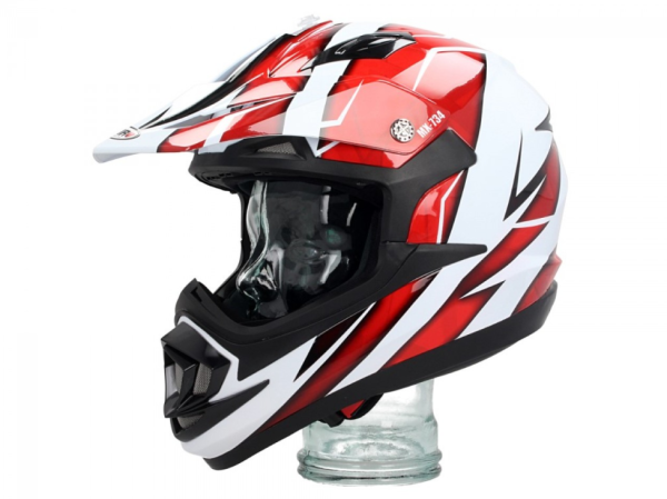 Shiro Casque Off Road, MX734, Troy, blanc/rouge
