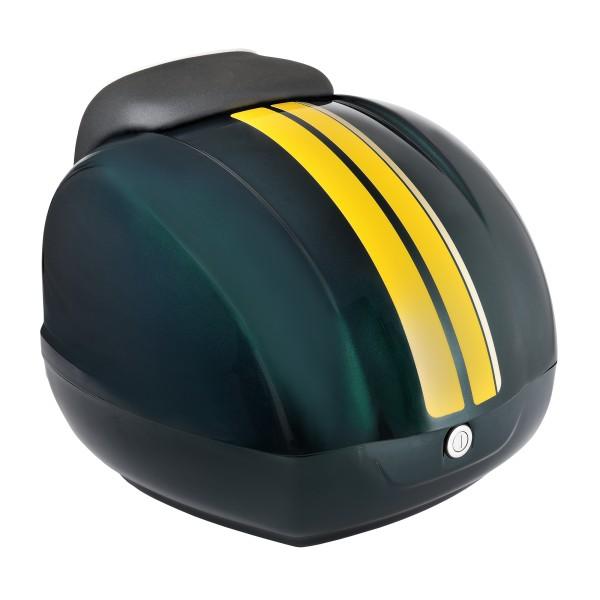 Bandes décoratives (jaunes) pour topcase Vespa GTS Racing Sixties vert, vert métallisé 349 / A, 37 l