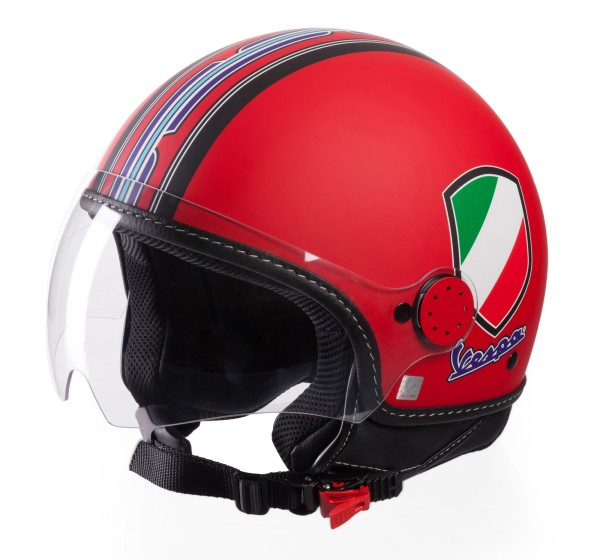 Casque Demi Jet Vespa V-Stripes rouge