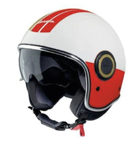 Casque Vespa open face VJ Racing 60s blanc / rouge - Sixties