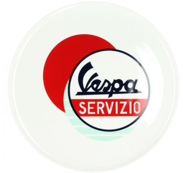 Vespa plate Servizio blanc bleu rouge