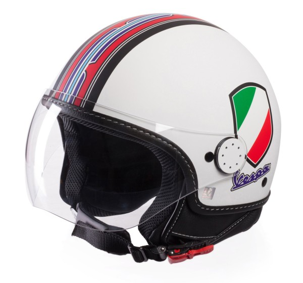 Casque Demi Jet Vespa V-Stripes blanc