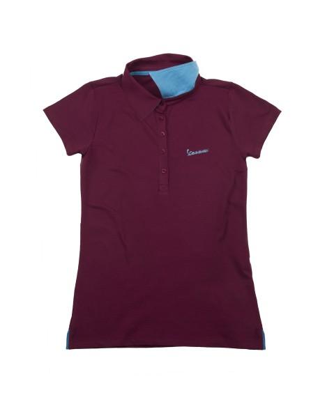 """Vespa Polo Shirt """"Vespa Logo"""" femme bordeaux"""