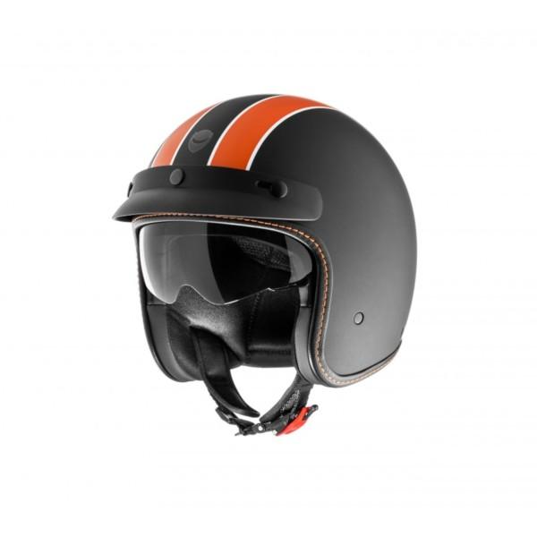 Casque Helmo Milano Audace Daytona, noir mat, orange, mat